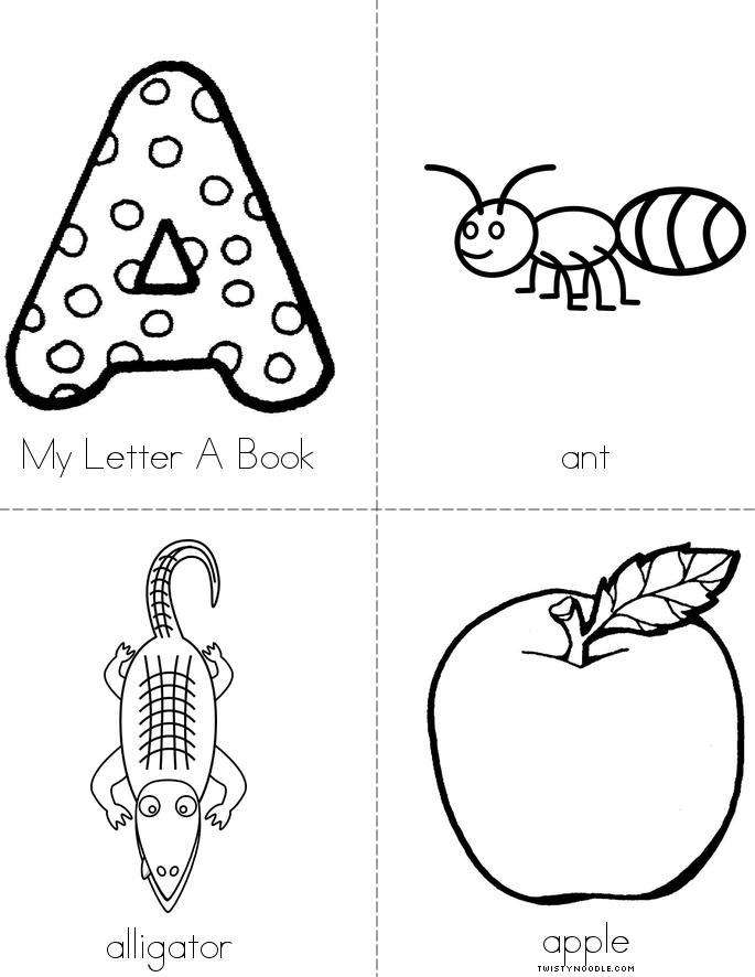 My letter a book twisty noodle for Printable alphabet book template