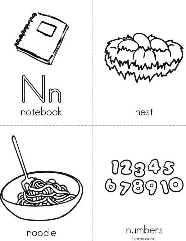 Letter N Mini Book - Sheet 2