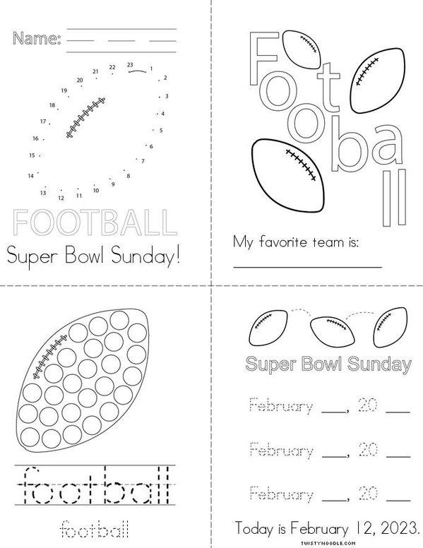 Super Bowl  Sunday Mini Book
