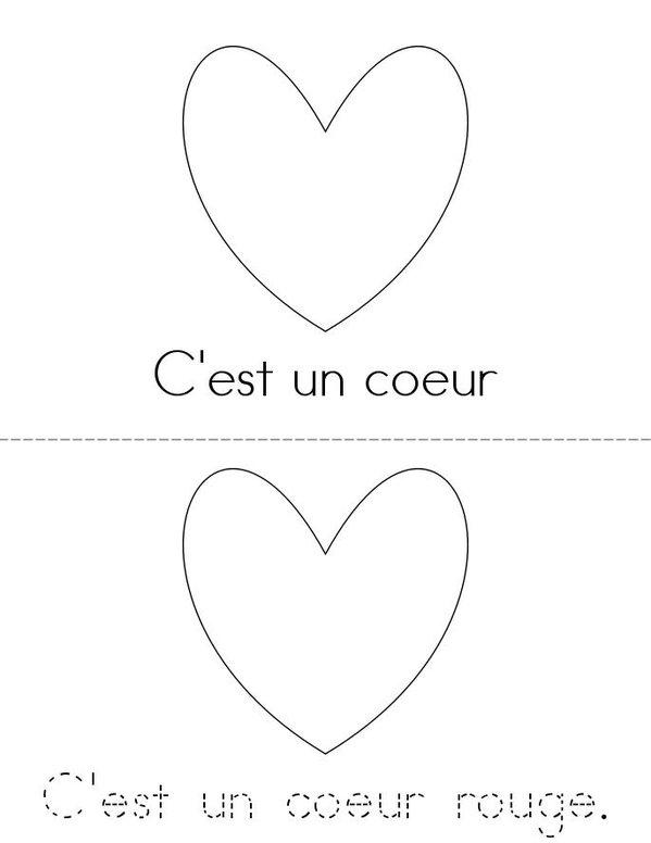 C'est un coeur. Mini Book - Sheet 1