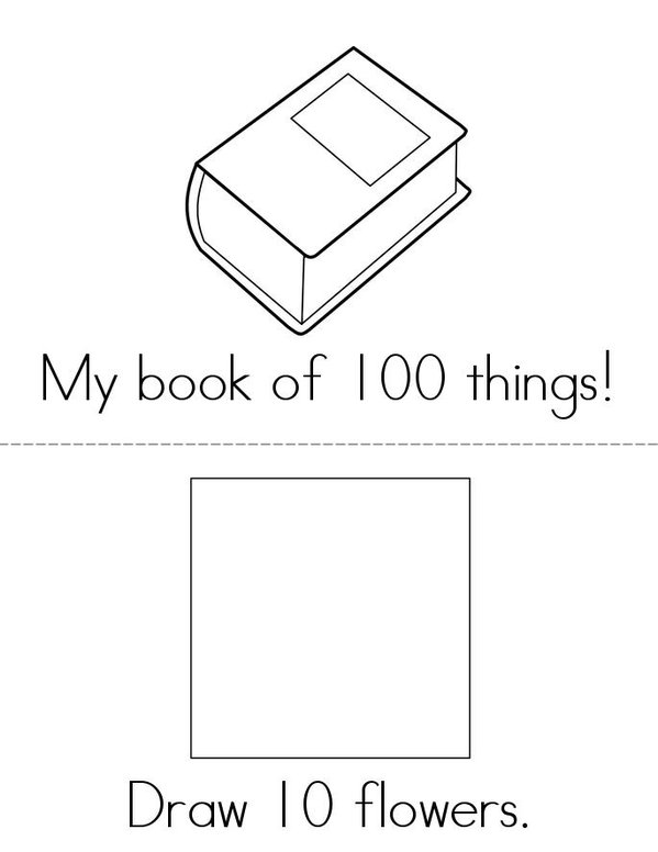 My Book of 100 Things Mini Book - Sheet 1