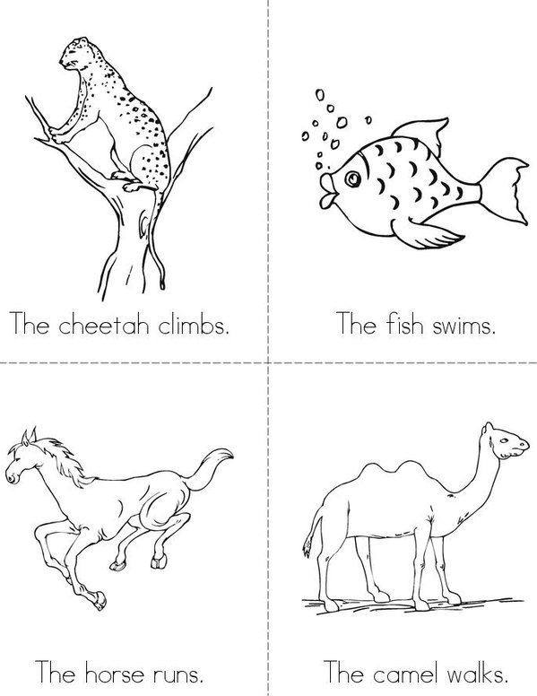 Animal Actions Mini Book - Sheet 1