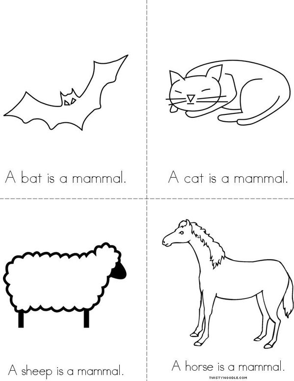 Mammals Mini Book - Sheet 2