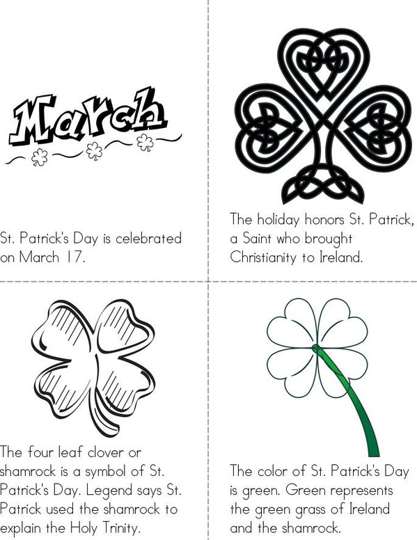 St. Patrick's Day Mini Book - Sheet 1