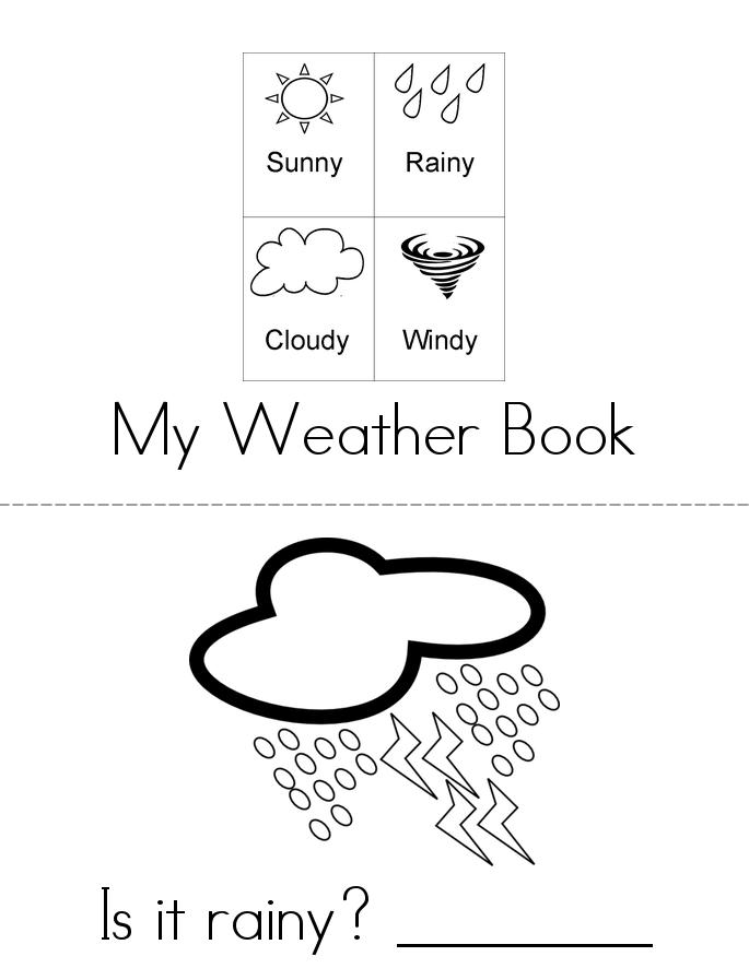 weather words book 4 sheets whats the weather - Printable Kindergarten Books
