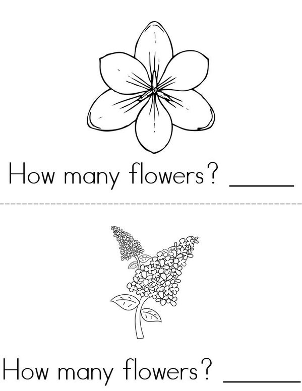 How many flowers? Mini Book - Sheet 1