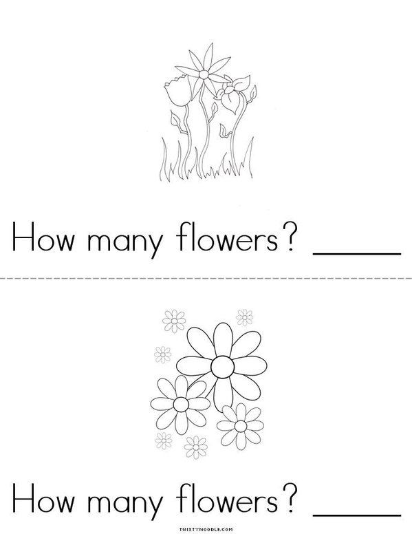 How many flowers? Mini Book - Sheet 2