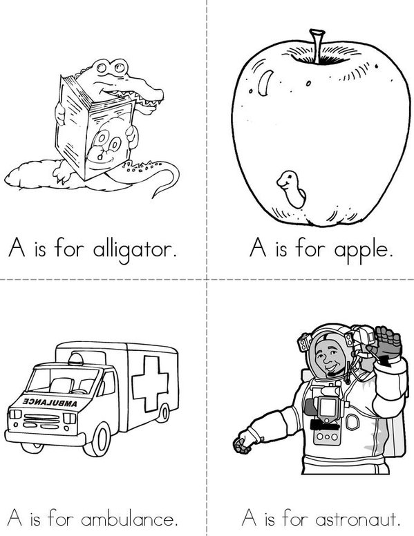 A is for alligator Mini Book - Sheet 1