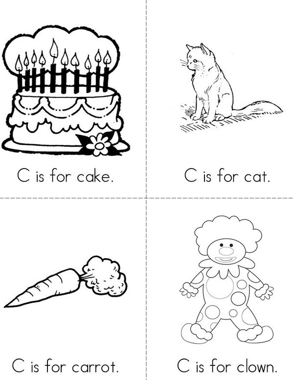 C is for cake Mini Book - Sheet 1
