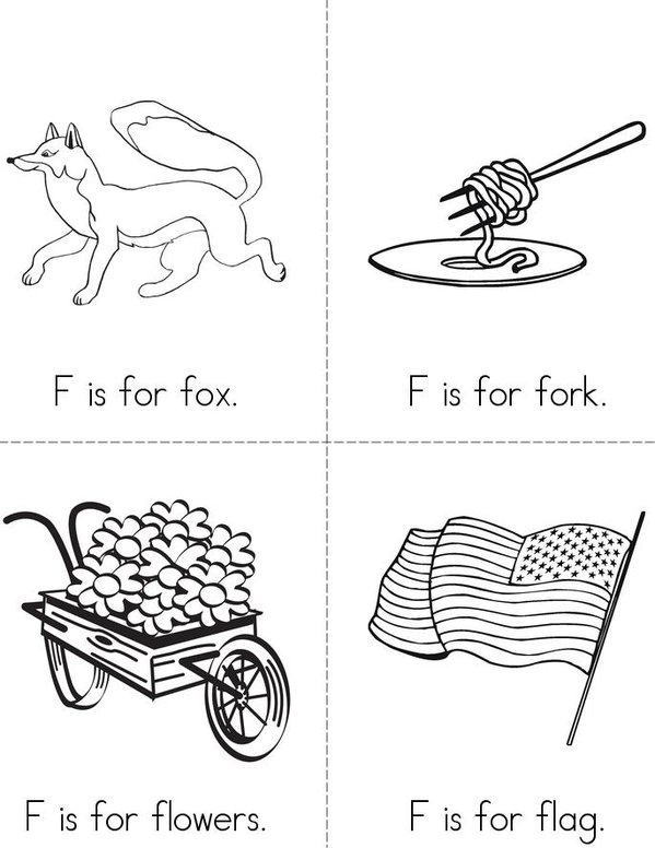 F is for fox Mini Book - Sheet 1