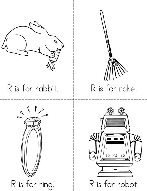 R is for rabbit Mini Book - Sheet 1
