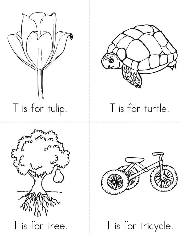 T is for Tulip Mini Book - Sheet 1