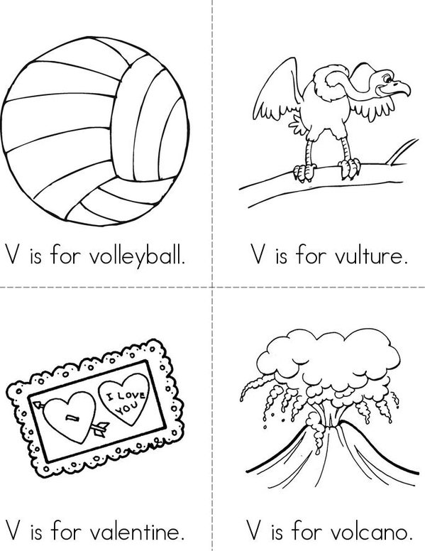 V is for Volleyball Mini Book - Sheet 1