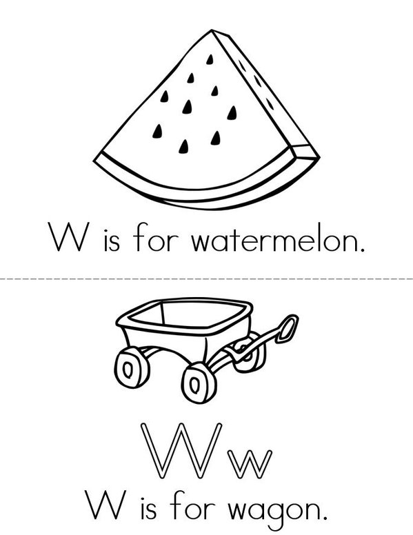 W is for watermelon Mini Book - Sheet 1