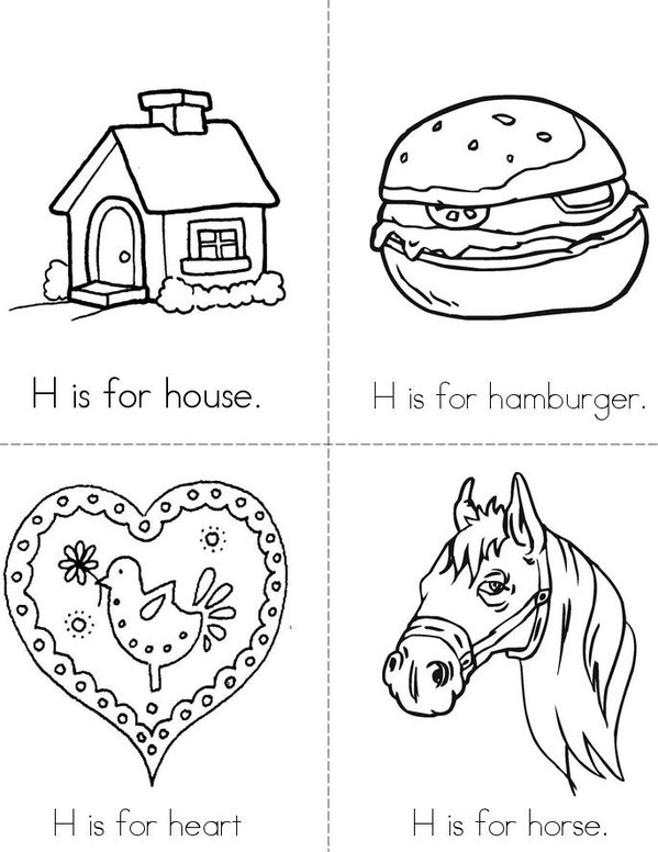 H is for House Mini Book - Sheet 1