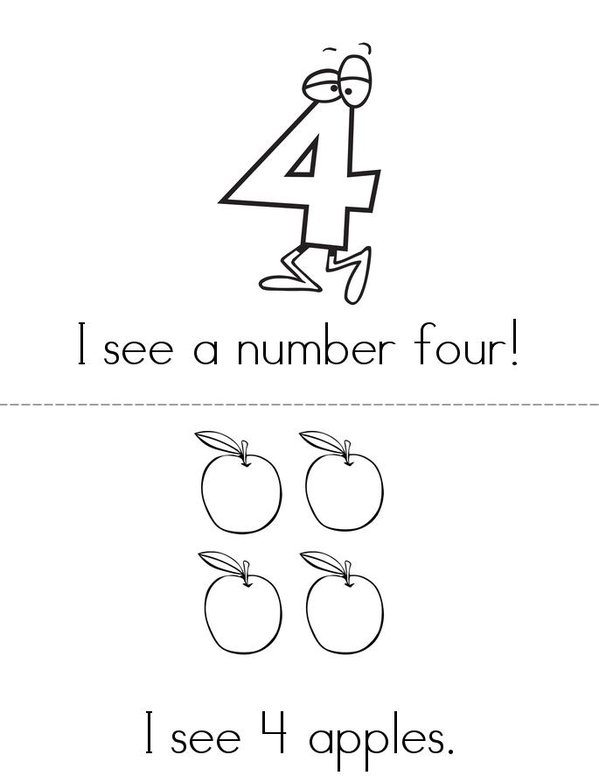 I see a number 4! Mini Book - Sheet 1