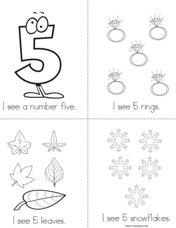 I see the number 5! Mini Book