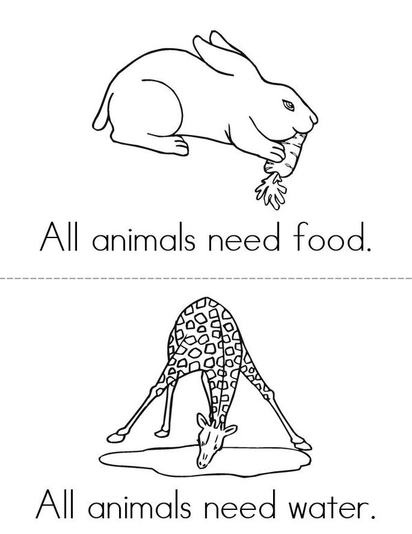 Animals Need Mini Book - Sheet 1
