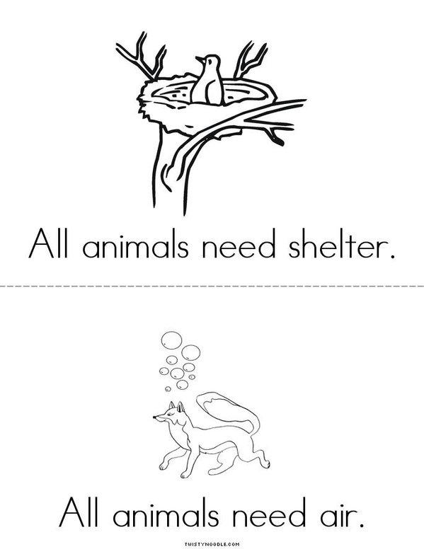 Animals Need Mini Book - Sheet 2