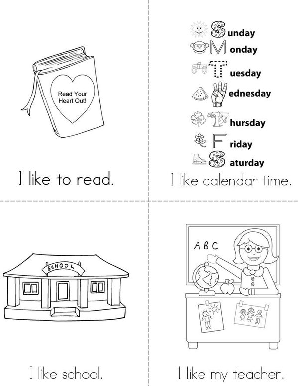 I Like School Mini Book - Sheet 1