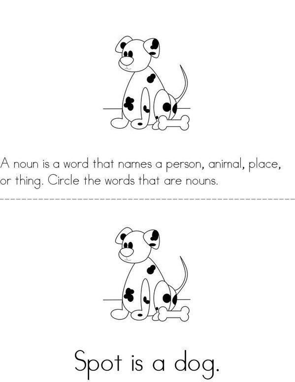 Circle the Nouns Mini Book - Sheet 1