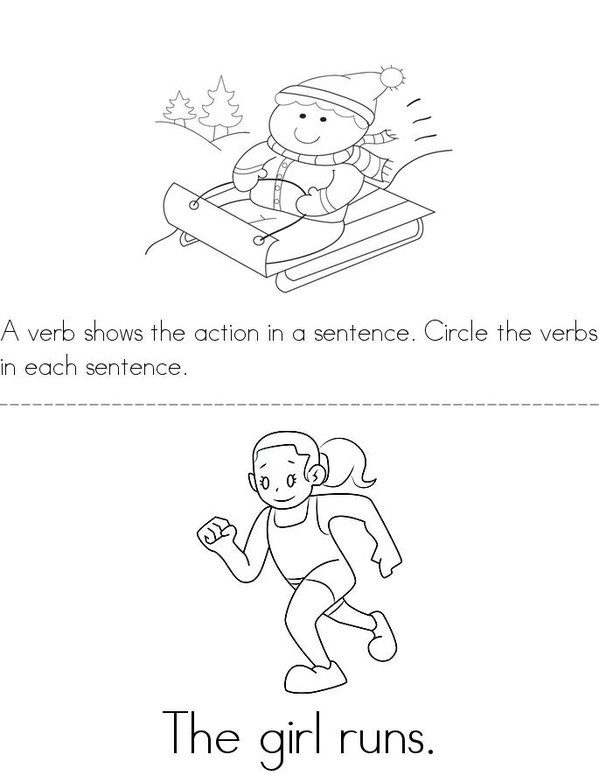 Circle the Verbs Mini Book - Sheet 1