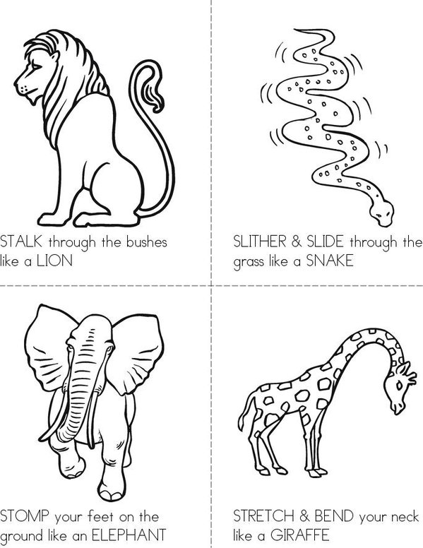 Animal ACTION Cards Mini Book - Sheet 1