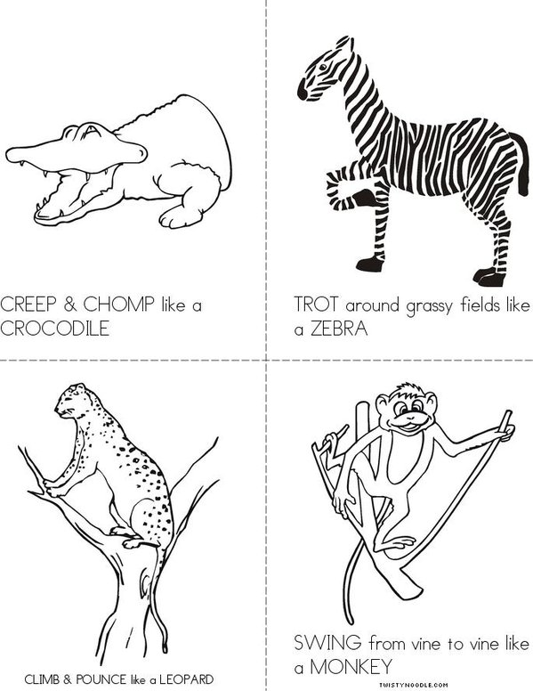 Animal ACTION Cards Mini Book - Sheet 2