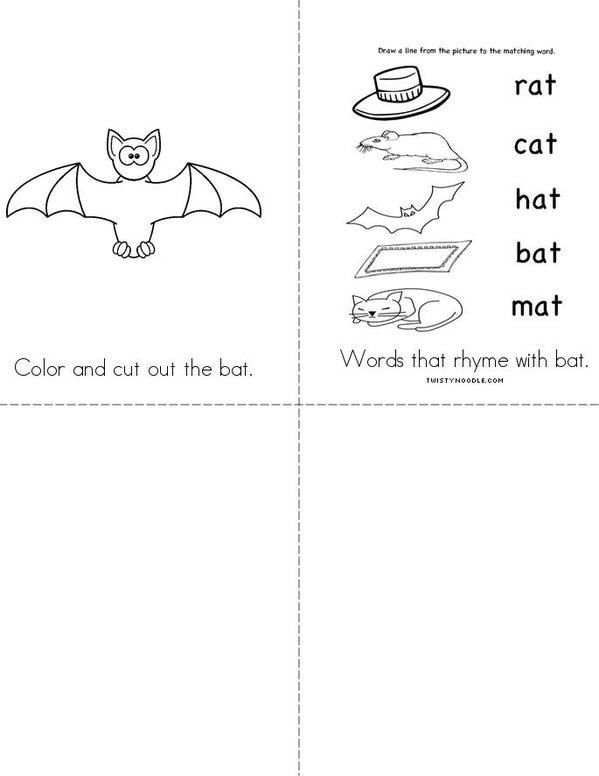Where is bat? Mini Book - Sheet 2