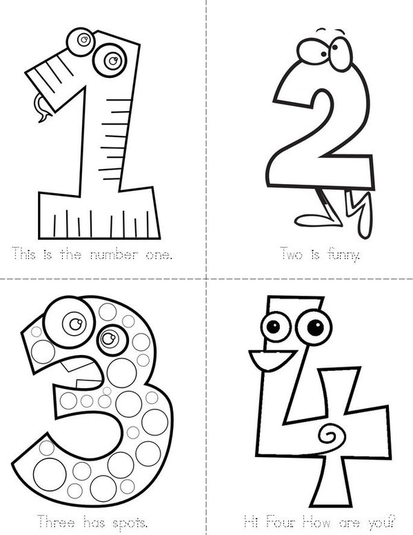 Funny Numbers Mini Book - Sheet 1