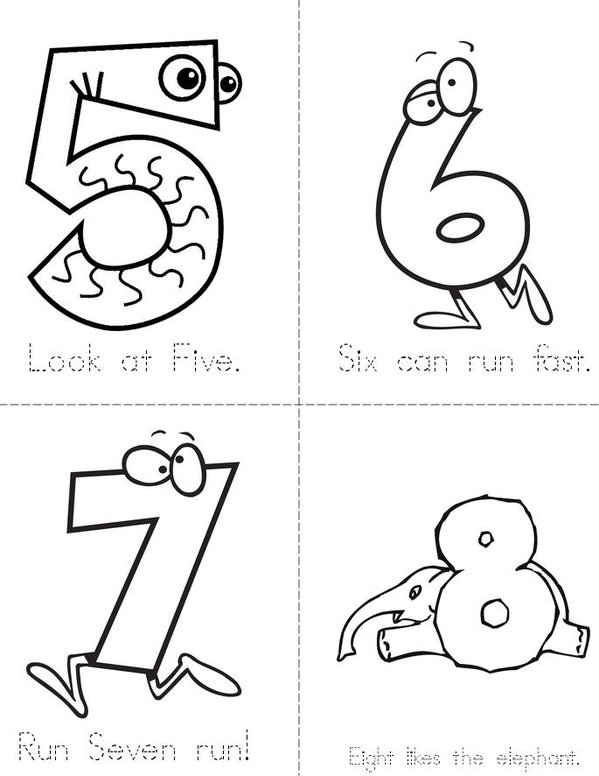 Funny Numbers Mini Book - Sheet 2
