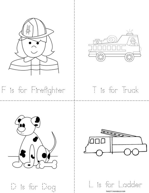 F is for Firefighter Mini Book