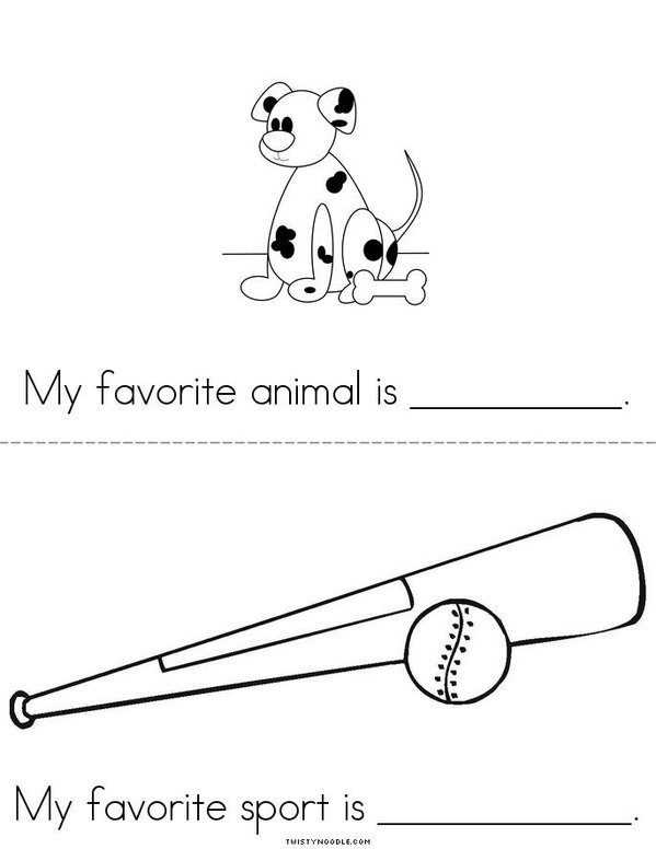 My Favorites (girl) Mini Book - Sheet 3