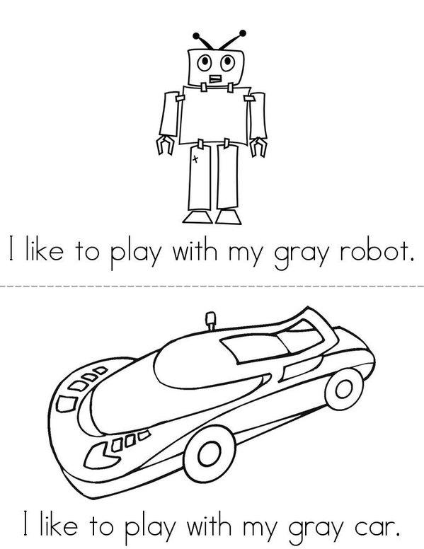 I Like to Play (gray) Mini Book - Sheet 1