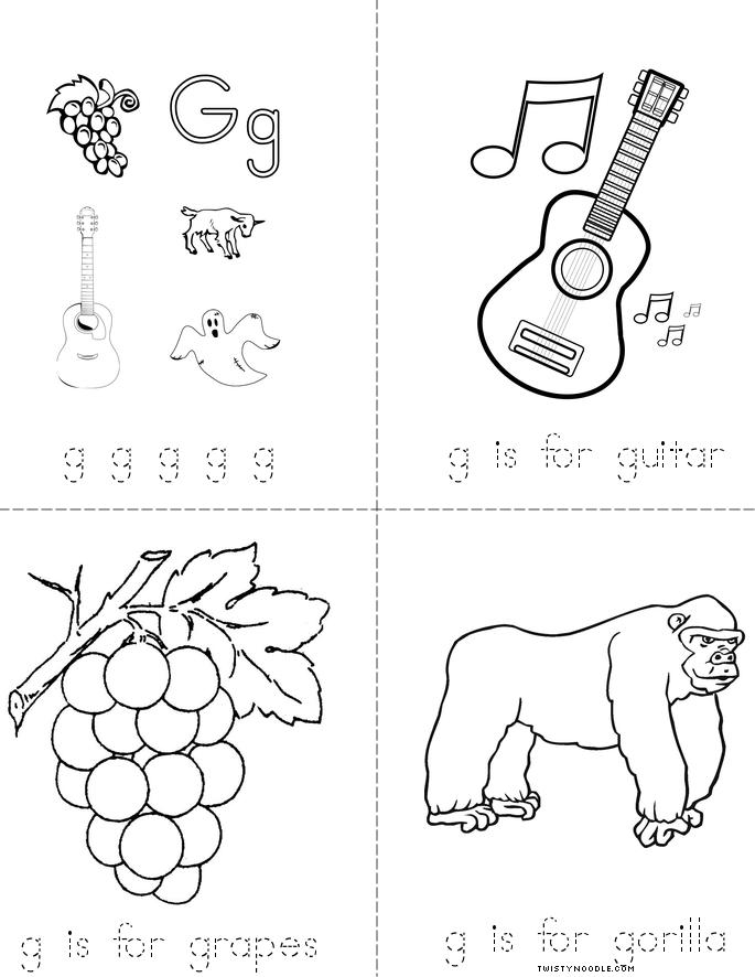 Letter G Minibook on Coloring Pages About Shapes