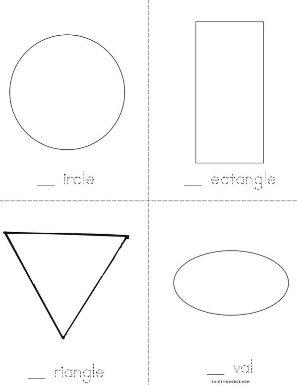 Shapes (fill in the missing letter) Book   Twisty Noodle