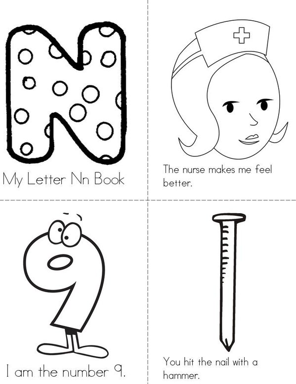 My Letter Nn Book Mini Book - Sheet 1