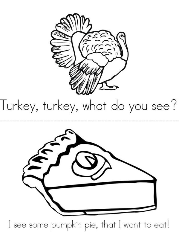 Turkey, Turkey, What Do You See? Mini Book - Sheet 1