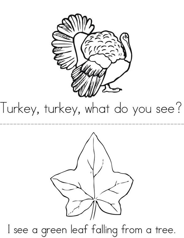 Turkey, Turkey, What Do You See? Mini Book - Sheet 2