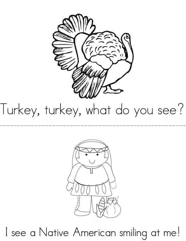 Turkey, Turkey, What Do You See? Mini Book - Sheet 3