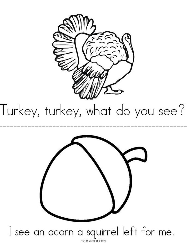 Turkey, Turkey, What Do You See? Mini Book - Sheet 6