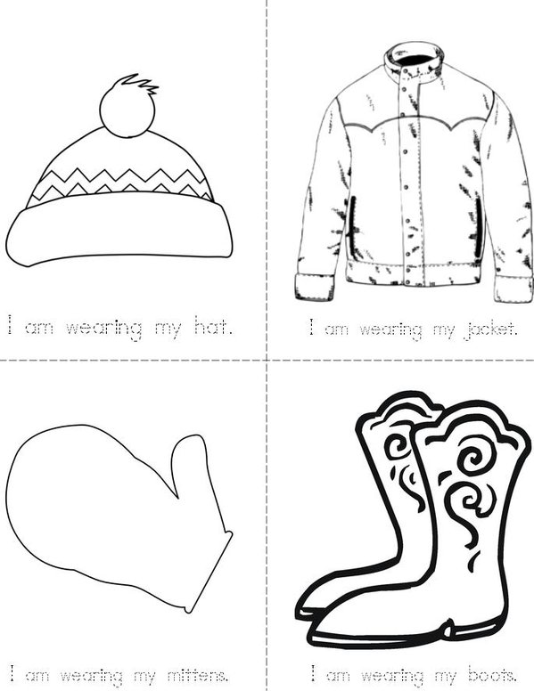 Winter Clothes Mini Book - Sheet 1