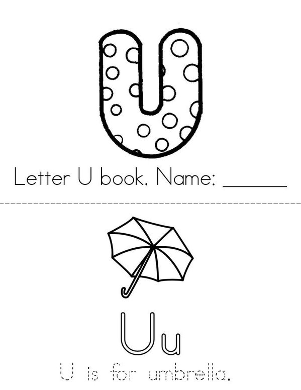 Letter U  Mini Book - Sheet 1