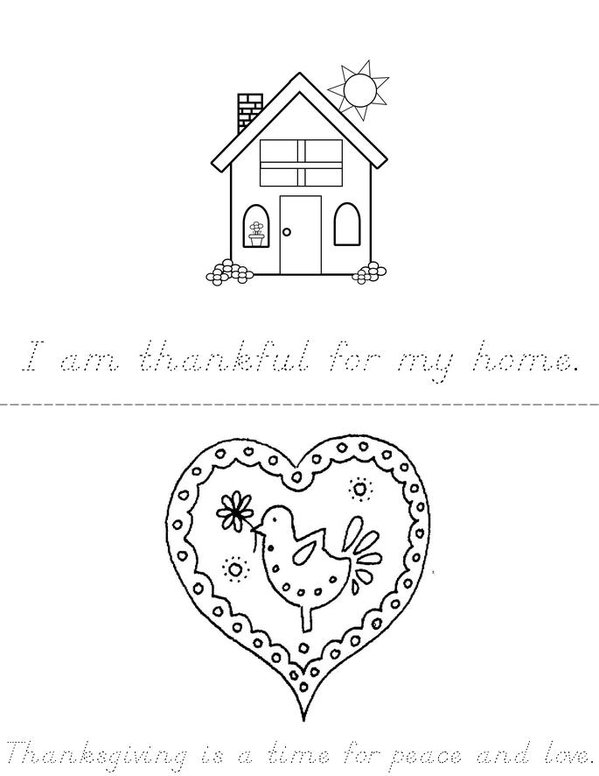I Am Thankful Mini Book - Sheet 1
