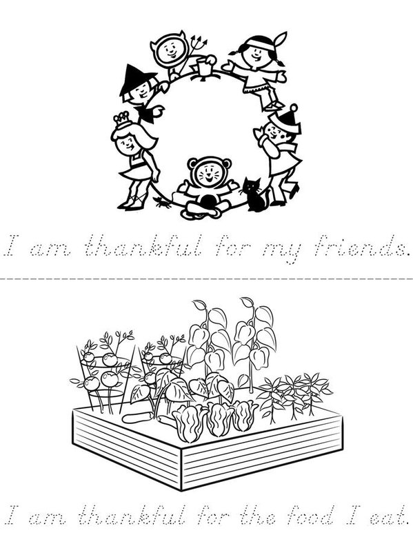 I Am Thankful Mini Book - Sheet 2