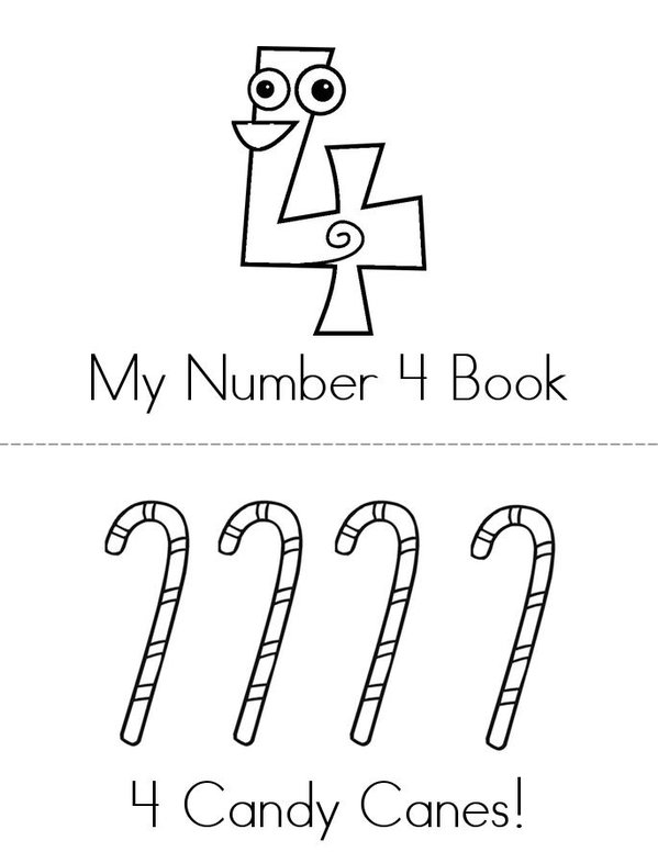 Number 4 Book Mini Book - Sheet 1
