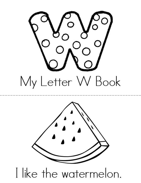 I like W Mini Book - Sheet 1
