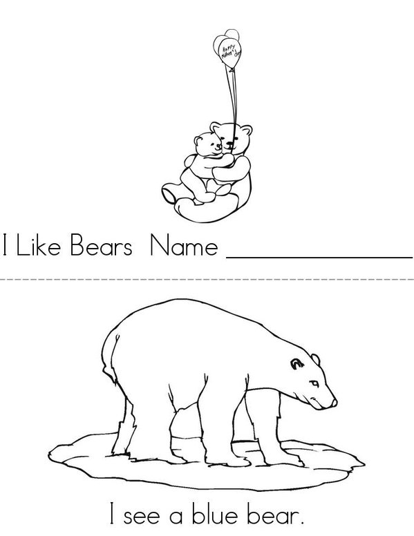 Bears in Pairs Mini Book - Sheet 1