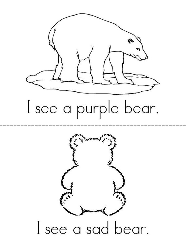 Bears in Pairs Mini Book - Sheet 3