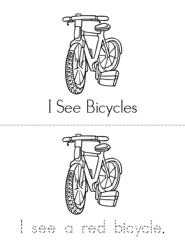 I See Bicycles Mini Book - Sheet 1